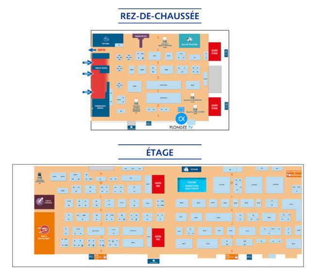 Cliquer sur le plan du Salon de la plongée 2019 pour agrandir l'image
