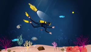 Dès qu'on le jette à l'eau, le drone iBubble s'allume et commence à suivre automatiquement le plongeur...