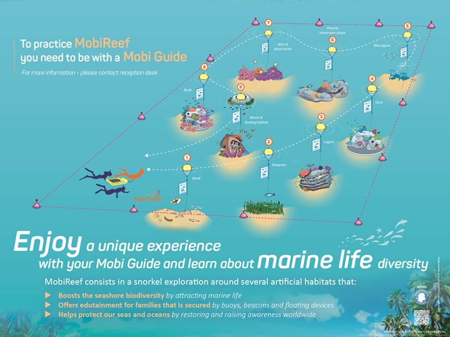 Le parcours du sentier sous-marin MobiReef au Club Med de Kani, aux Maldives